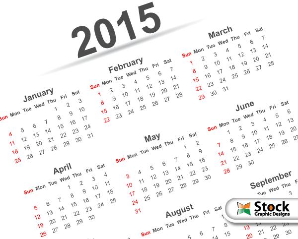 simple 2015 calendar printable pdf template vector free download