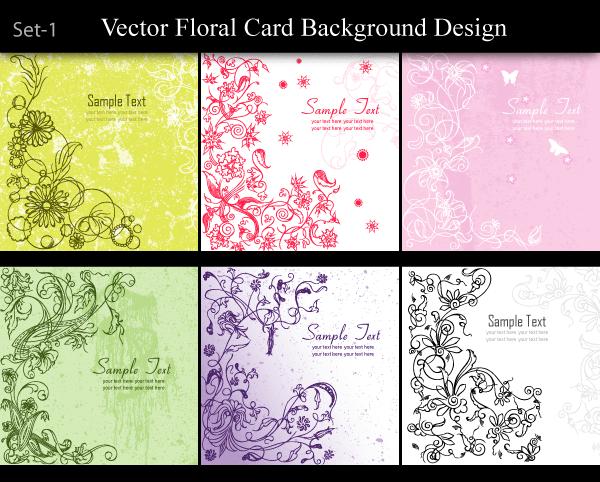 Vector Floral Card Background Design Set-1 | Royalty Free ...