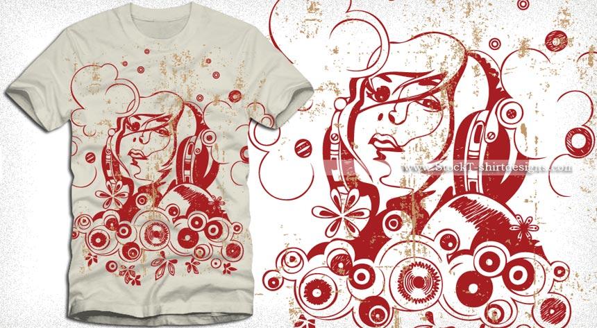 Vector T-shirt Design with Beautiful Girl | Vector T-Shirt Designs ...