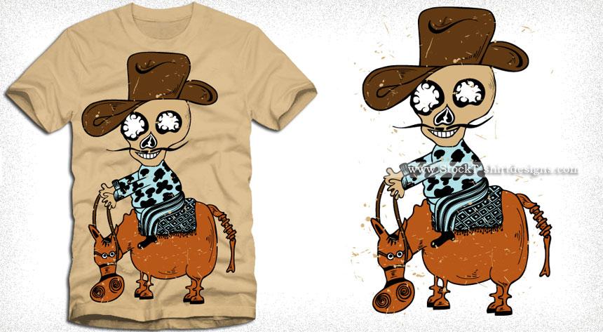 Cartoon Cowboy Skull Riding a Horse Vector T-shirt Design
