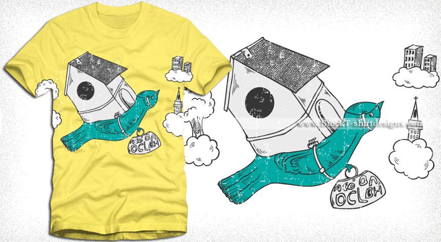 Cartoon Flying Bird T-shirt Design Vector