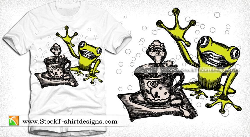 Vector Illustration Cartoon Frog T-shirt Design