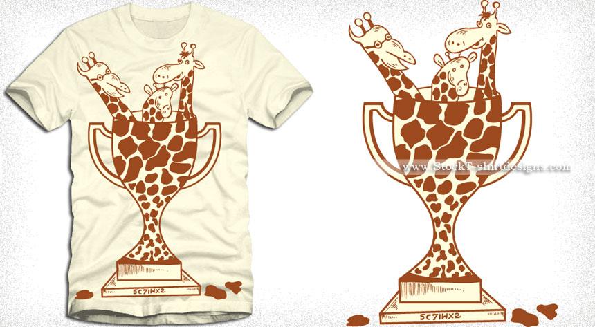 Cartoon Giraffe Trophy T-shirt Design Vector