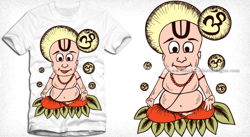 Cartoon Guru Meditating T-shirt Design Vector