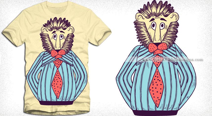 Cartoon Lion Man Vector T-shirt Design