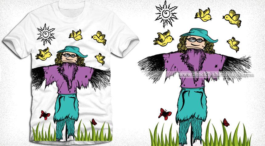 Cartoon Scarecrow with Birds Vector T-shirt Design