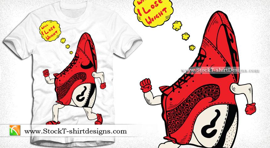 Cartoon Sneaker Vector Graphic T-shirt Design