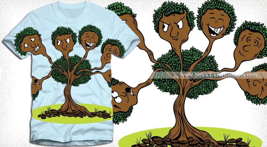 Cute Cartoon Tree Character Vector T-Shirt Design