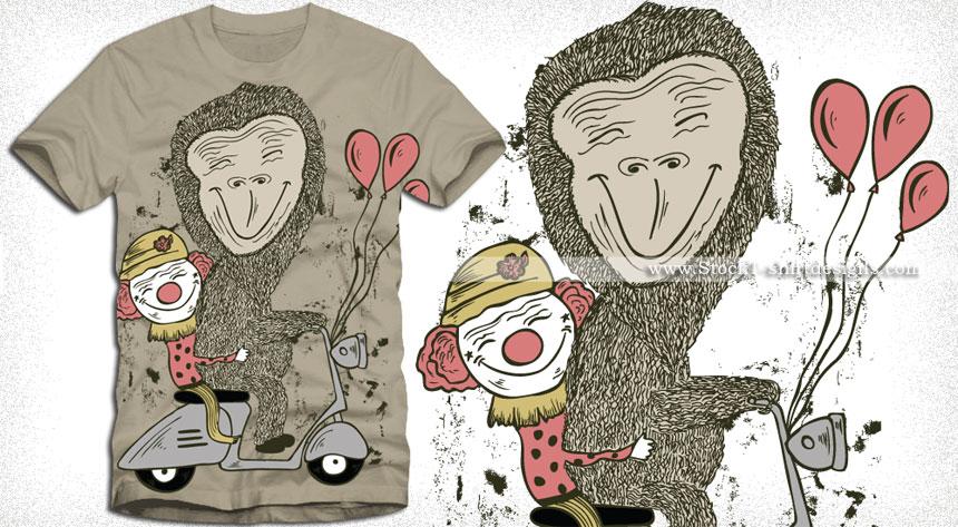 Cartoon Bear and Funny Clowns Riding Scooter Vector T-shirt Design