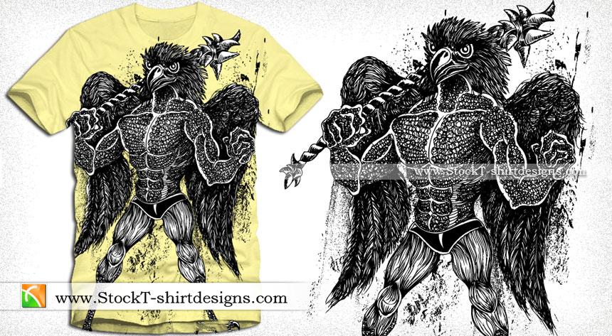 Vector T-shirt Design with Demon Bird