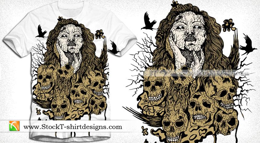 Demon Girl With Skull Vector Tee Design Vector T Shirt