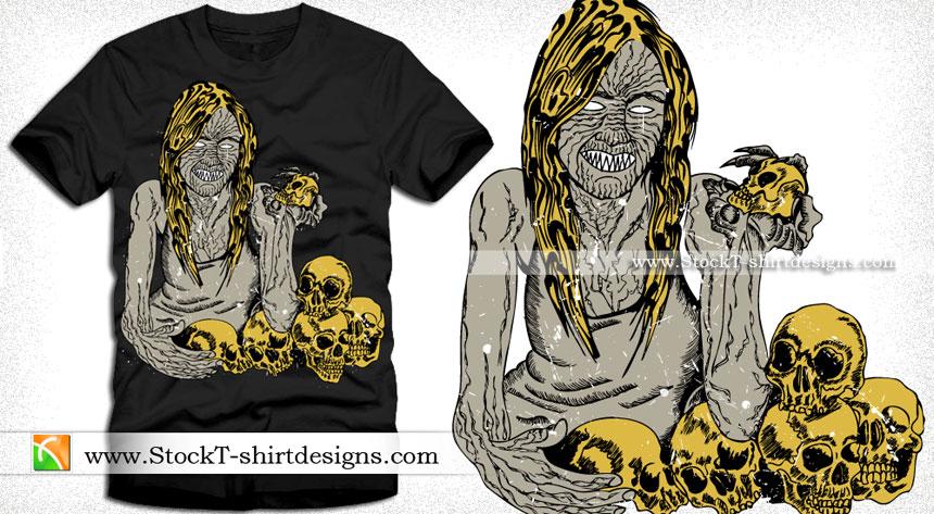 Evil Demon Woman with Skull Vector T-shirt Design