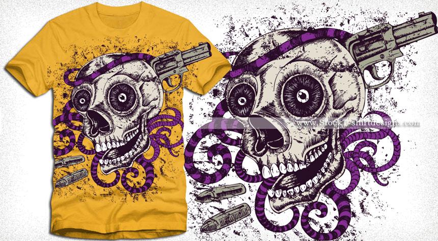 Horror Skull with Gun Vector Tee Design