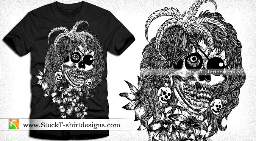 Horror Skull with Flower Vector T-shirt Design