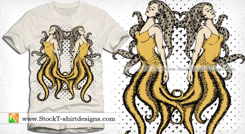 Mermaids Vector T-shirt Design