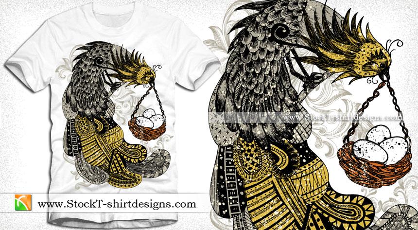 Peacock Bird with Egg Vector T-shirt Design