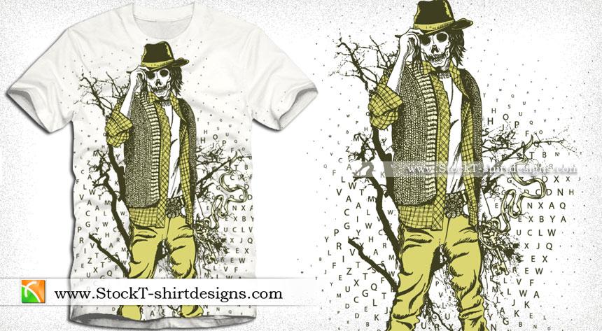 Skull Man with Tree Vector Art T-shirt Design