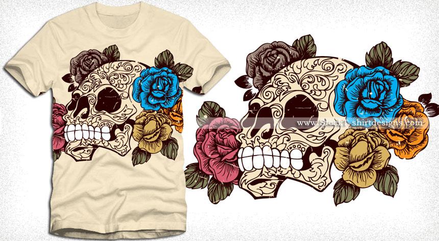 Sugar Skull with Roses T-shirt Design Vector