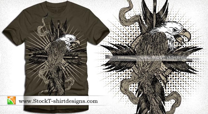 Eagle with Sunburst and Halftone T-shirt Design Illustration