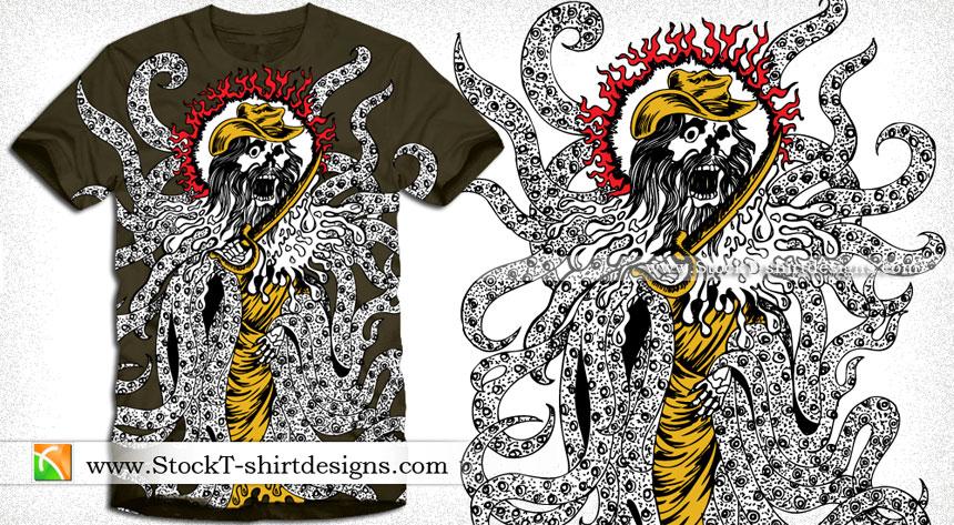Vector Shirt Graphic Design Demon Man