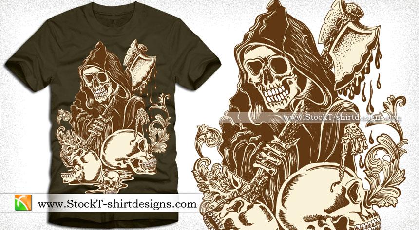 Vector T-shirt Design with Skull Man