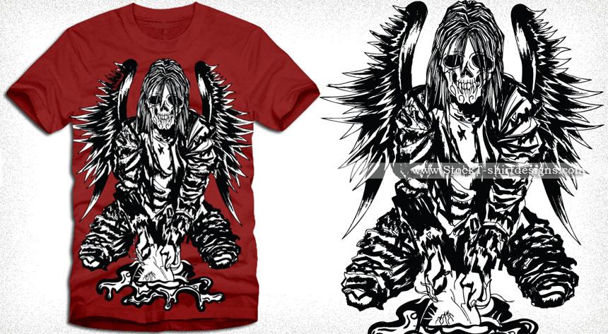 Winged Horror Man Vector T-shirt Design