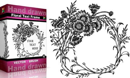 Hand Drawn Floral Text Frame – Set.4 | Vol : 4