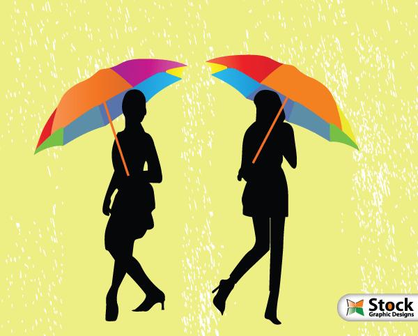Girls with Umbrella Walking in the Rain Vector Illustration