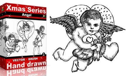 Xmas Series: Hand Drawn Angels Vectors