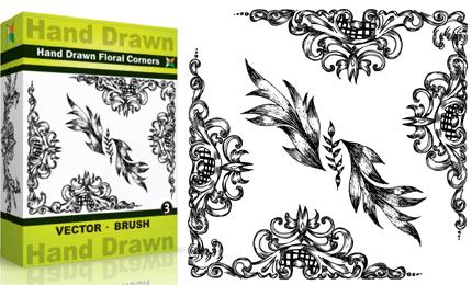 Hand Drawn Floral Corners – Set.5 | Vol : 3