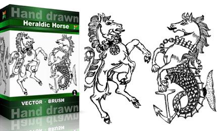 Heraldic Series : Hand Drawn Horse