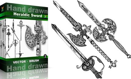 Heraldic Series : Hand Drawn Sword