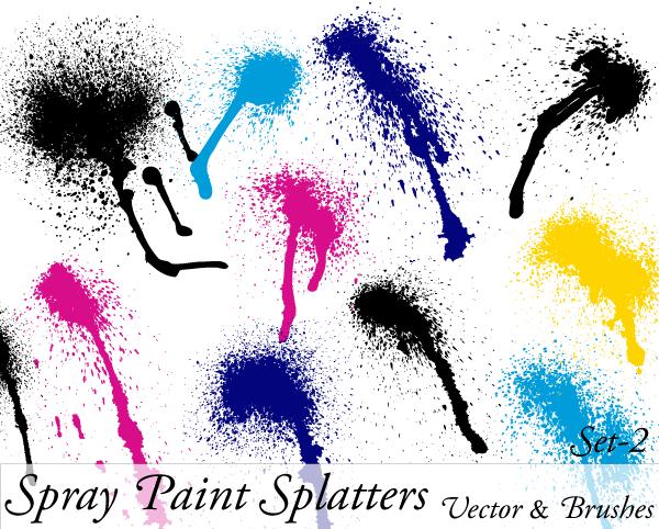 Spray Paint Splatter Vector Illustration Set-2