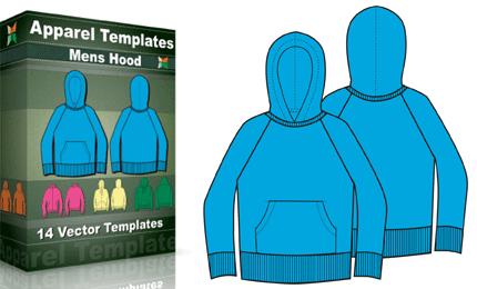 T-Shirt Templates : Men's Hoodies