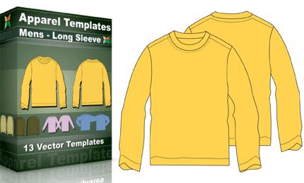 TShirt Templates Mens Basic Long Sleeve Vector Photoshop - Long sleeve t shirt template