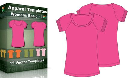 T-Shirt Templates : Women's Basic – 1