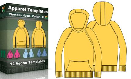 T-Shirt Templates : Women's Hoodies Collar – 2