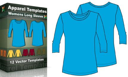 T-Shirt Templates : Women's Long Sleeve