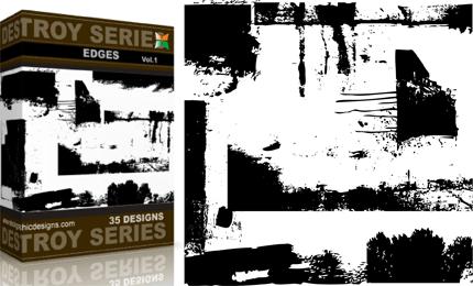 Vol.1 : Grunge Destroyed Edges Vectors