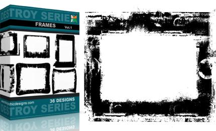 Grunge Destroyed Frames Vectors