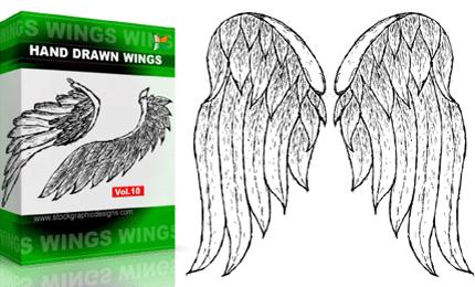 Hand Drawn Wings – Set.1 | Vol : 10