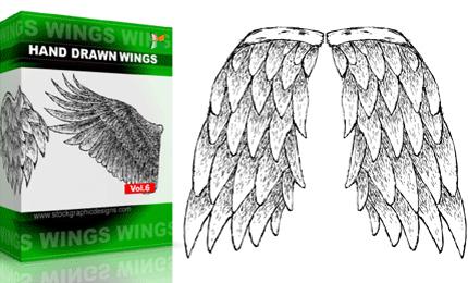 Hand Drawn Wings – Set.1 | Vol : 6