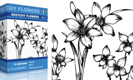 Sketchy Flowers – Set.1 | Vol : 2