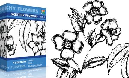 Sketchy Flowers – Set.1 | Vol : 4