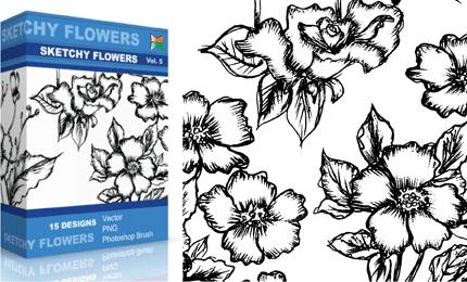 Sketchy Flowers – Set.1 | Vol : 5