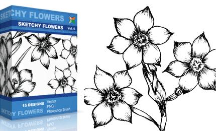 Sketchy Flowers – Set.1 | Vol : 6