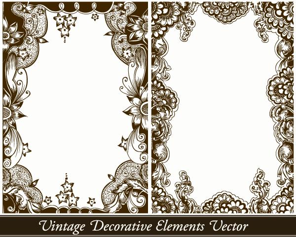 Vintage Decorative Floral Frames Vector Set 1