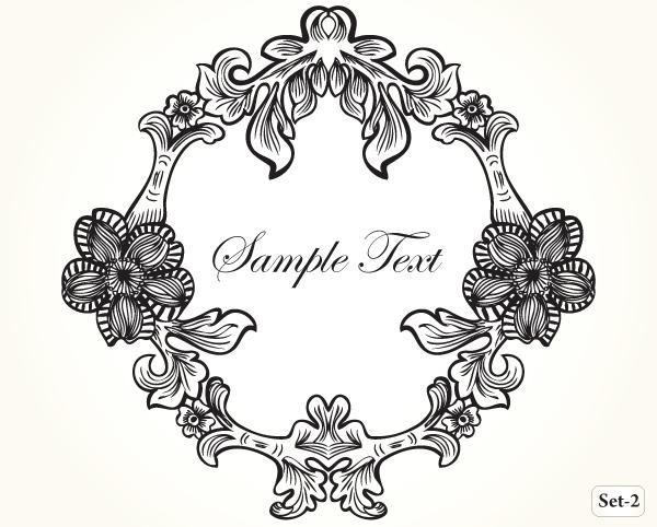 Vintage Floral Frame Vector Set-2 | Vector & Photoshop Brushes ...