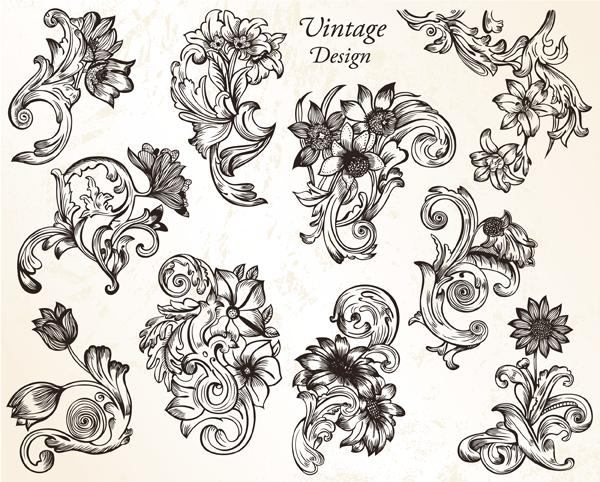 Vintage flower ornaments vector set 1 vector photoshop for Design ornaments